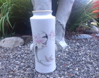 Vintage White Fine China Vase With Orchid & Butterfly Design Japan