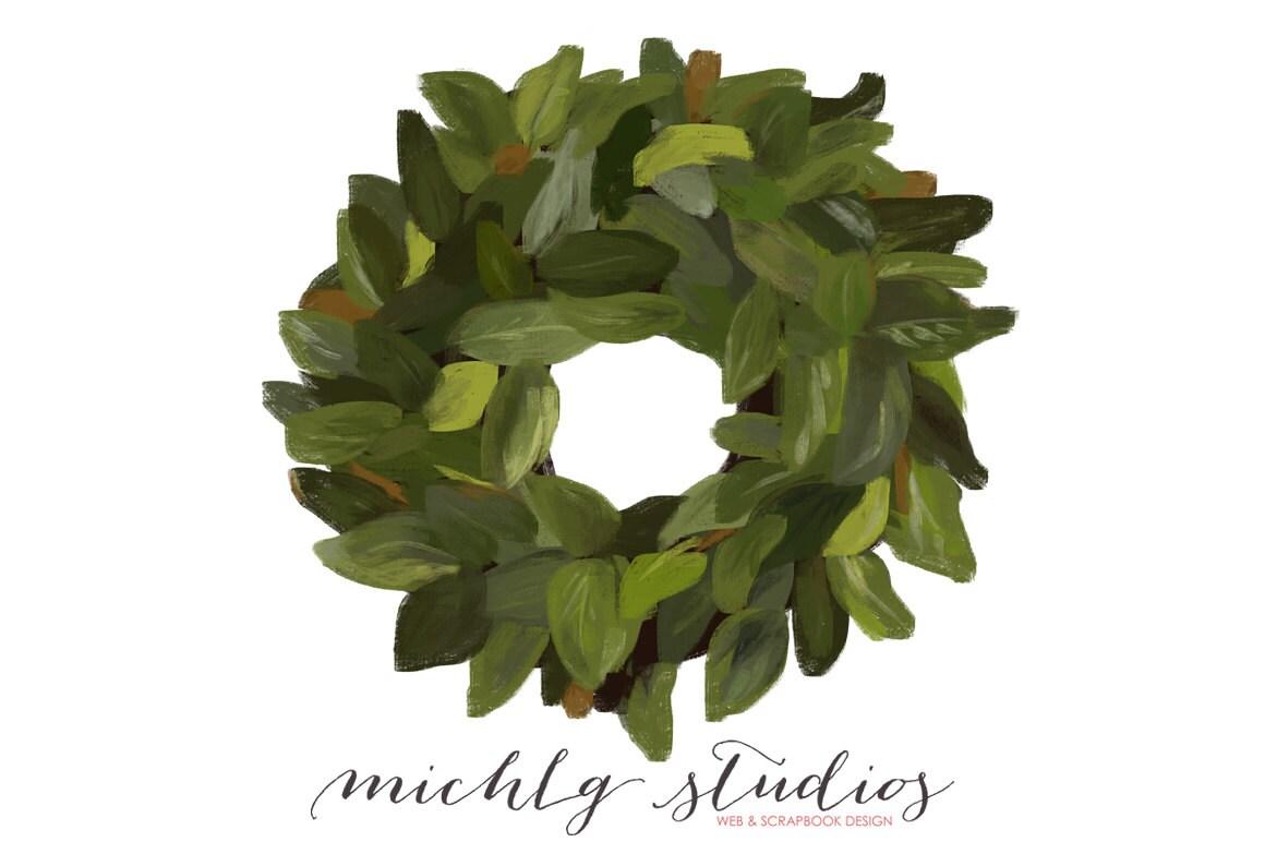 Digital Clip art Magnolia wreath PNG clipart
