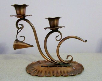 Candlestick, Copper, 2 Candle Holder with Snuffer, Hand Hammered, Gregorian Cooper #421, 60s Rustic Decor ~ BreezyJunction.etsy.com