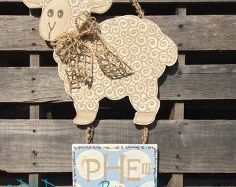 Little lamb gender neutral hospital door hanger