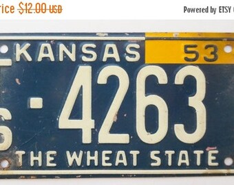 ON SALE Vintage, Kansas, 1953, Wheaties, Bike Plate, Bicycle, License Plate, Cereal Premium, Miniature, Tin, Embossed, Collectibles