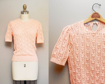 Vintage Pale Pink Knitted Sweater | 80s Cotton Knit Short Sleeve Top | Small