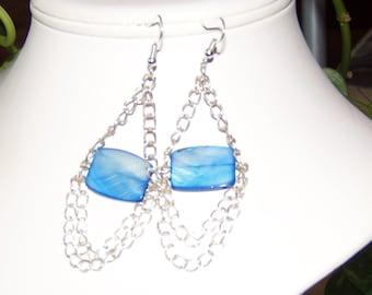 Blue Shell/Chain Dangle Earrings