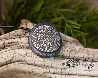 Rustic Circle Polymer Clay Pendant