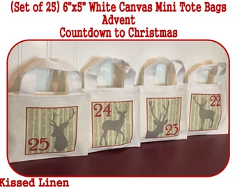 "Advent Calendar Countdown to Christmas Holiday Hanging Bags White Canvas Mini Totes Bags 6""x5"" Rustic Woodland Birch Deer Gift Bags Red Grey"