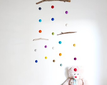 Driftwood and Felt Balls Mobile -- Kinetic Baby Mobile with Colorful Poms -- Rustic Natural Eco Friendly-- Ready to ship