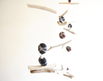 Driftwood Mobile with Felt Pebbles -- Drift Wood Hanging Decor with Felt Rocks -- Brown, Black, Ice White -- Rustic Natural -- Ready to ship