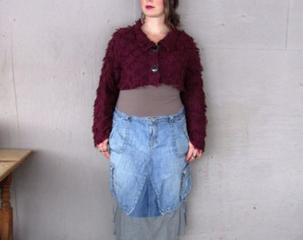 upcycled denim skirt women's clothing Funky hippie Jean skirt Bohemian Boho chic Eco friendly skirt recycled refashioned  LillieNoraDryGoods