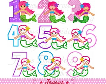 Mermaid Number 1-9 Applique Machine Embroidery Design NO:1750