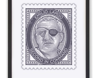 "Spectre's Second in Command - 50 x 40cm ""Emilio Largo"" James Bond Stamp Print"