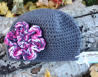 Dark Grey Crochet Beanie Hat with Pink and Purple Flower, Dark Grey Crochet Winter Hat with Pink and Purple Flower, Grey Baby Crochet Hat
