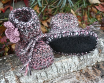 Black Grey and Pink with Flower CROCHET SHEEPSKIN Booties or Crochet Sheepskin Slippers with LEATHER Sole and Sheepskin Shearling