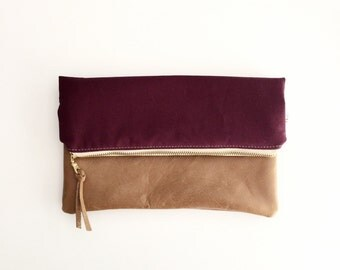 Burgundy Leather Fold Over Clutch