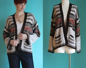 Vintage 70s Cardigan - Space Dye Sweater - Striped Cardigan - Bell Sleeve Sweater  - Wrap Cardigan - Boho Sweater - Hippie Cardigan