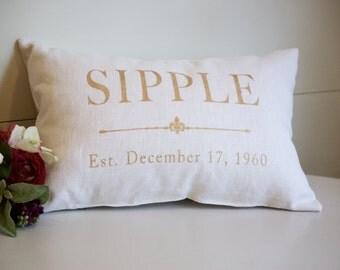 50th Wedding Anniversary Gift | Gold Anniversary Gift | Linen Pillow | Wedding Gift | 12th Anniversary Gift | Home Decor | Linen Anniversary