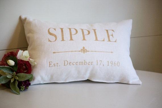 50th Wedding Anniversary Gift Pillows: 50th Wedding Anniversary Gift Gold Anniversary Gift Linen