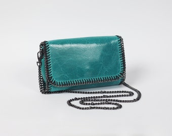 Turquoise leather clutch|Italian leather purse|Handbag with chain strap|DeZavuBoutique turquoise leather clutch|Summer handbag
