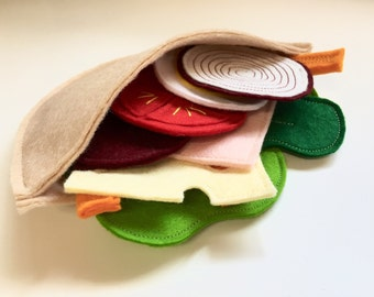 Felt Pretend Play Salad & Pitta Pocket Set with Gift Box