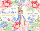 Mr Rabbit - art clipart - Illustration - Watercolor Elements - PNG file