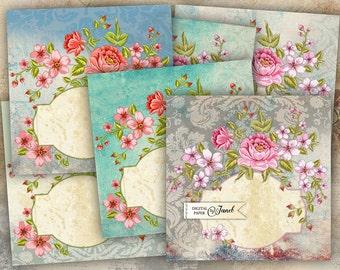 FLower Cards - set of 6 - digital collage sheet - Printable Download