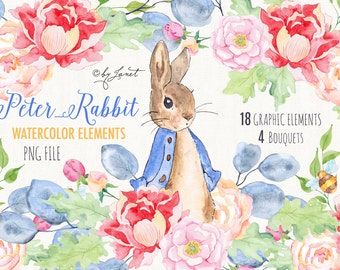 Mr Rabbit - art clipart - Illustration - Watercolor Elements - PNG file