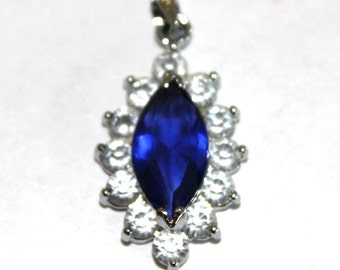Sapphire Blue and Rhinestone Marquis Charm/Pendant with Silvertone Bail