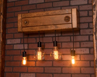 Alder wall sconce with 4 mason jar pendants
