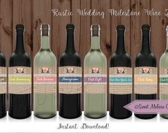 INSTANT DOWNLOAD 8 Rustic Wedding Milestone Wine Labels for Bridal Shower / DIY - Printable Wine Labels / by Sweet Melissa Creations