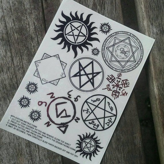 Supernatural Show Tattoos: Supernatural Temporary Tattoos By Bycandlelight27 On Etsy