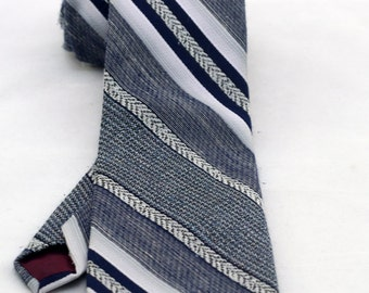 Vintage Men's Blue Grey Striped Tie/ Retro Blue and Gray Necktie