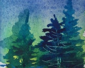 ORIGINAL ACEO Blue & Green Trees Watercolor Painting, OOAK Small Gift, Scrap Booking, Card Making, Landscape Pines Night Sky Turquoise