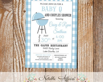 Baby Blue BBQ Baby Q baby shower couples shower on Baby Blue Gingham  - diapers and brews - light baby blue color can be changed