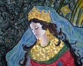 Art Nouveau Silk Original batik handpainted Byzantium.