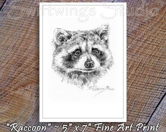 Wildlife Print - 5 x 7 Wildlife Print - Raccoon Print - Wildlife Art - Raccoon Image - Black and White Art - Animal Art