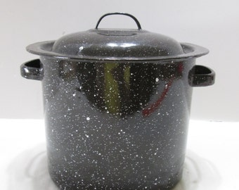 Dark Blue Granite Small Steamer  Pot  Removable Handled  Basket