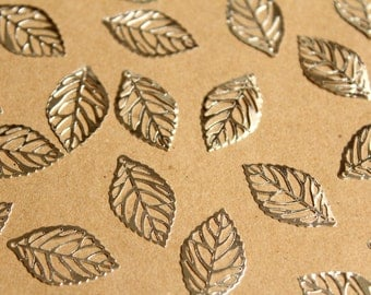 40 pc. Laser Cut Skeleton Leaf Charms, Silver, 23.5mm by 14mm   MIS-084