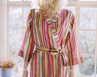 Tuscany. One of a kind. READY TO SHIP. Cotton knee length kimono robe or dressing gown in Medium. Unlined.