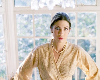 Mocha. One of a kind. Bridal Wedding Robe Wedding Sleepwear Lace Robe Bridal Lingerie. Bridal robe. Unlined. Small.