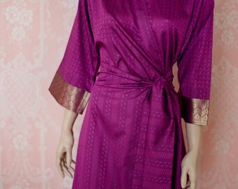The Maharani. Soft faux silk brocade robe in a dark magenta pink purple. Silk brocade robe. Medium. Silk brocade dressing gown Silk lingerie