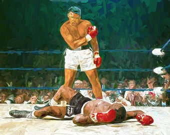 Muhammed Ali Over Liston Fine Art Boxing Print on Canvas