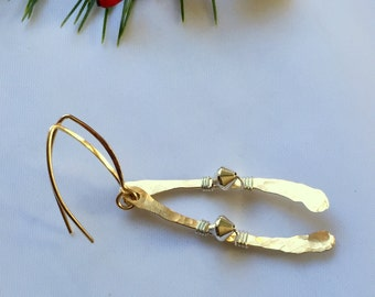 Gold and Silver Minimalist Stick Twig Earrings, Two Toned Handcrafted Modern Dangle Drop Earrings
