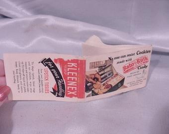 Advertising Baby Ruth, On Small Kleenex Lipstick Tissue Folder, Marked 1 Cent