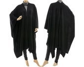 Boho knitted poncho cape wrap, knitwear, womens knit poncho cape in black / lagenlook for small to plus size, S-XXXL, US size 8 up to 26