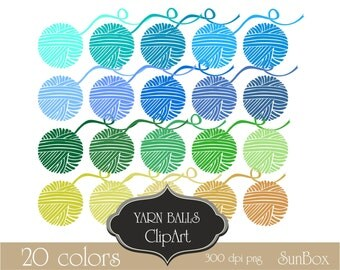 Yarn Balls Blue Green Crochet Knitting Clipart 20 ClipArt Images for cards, scrapbooking  - instant download - CU OK
