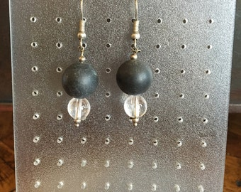 Earrings, agate & quartz crystal (OR5 No.)