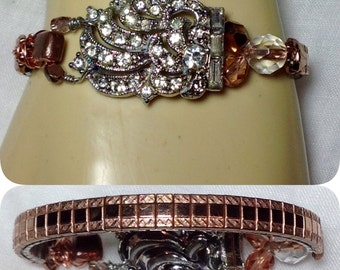 Art Deco Nouveau ROSE Pink GOLD Watchband  Bracelet Repurposed 30s Rhinestone Dress Clip Upcycled Vintage Unique Small Size Wrist WishAnWear