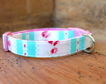 Floral Dog Collar - Vintage Inspired Aqua and White Stripe with Pink Flowers