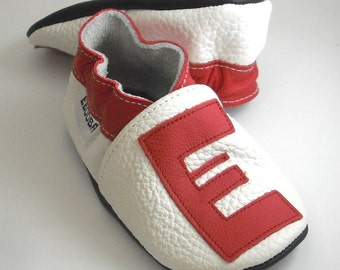 Soft sole baby shoes handmade infant gift red alphabet  white 12 18 ebooba LT-4-W-T-3