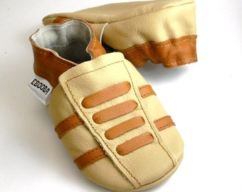 soft sole baby shoes leather infant sport beige brown   12-18m ebooba SP-34-BE-T-3