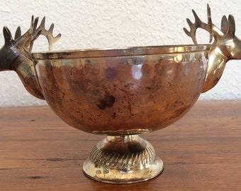 Vintage Hammered Silverplate Pedestal Stag Deer Reindeer Bowl